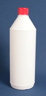 Flaske 1 l. hvid UN-godk./28 mm/HDPE