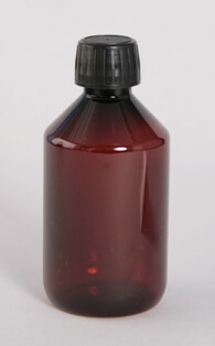Flaske 250 ml brun / 28 mm PET