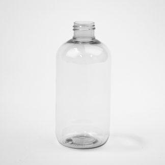Flaske 250ml boston round klar / 24mm R-Pet